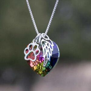 Regenbogen-Kristall-Herz-Engel-Fluegel-Anhaenger-Kette-Halskette-Schmuck