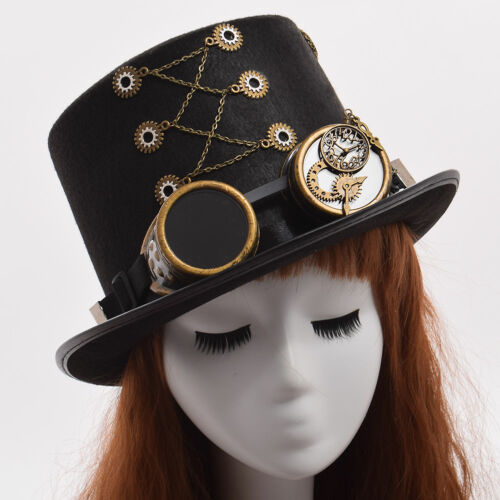 Vintage Steampunk Gear With Gothic Glasses Top Hat Punk Unisex Party Black Hat