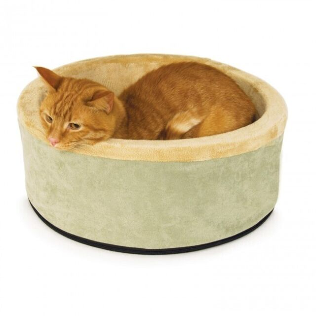 K&H Heated Cat kitten Bed Thermo Kitty Circular Sage 50cm