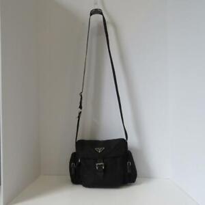 bd091bb48 Prada Black Nylon/Leather Buckle Flap Camera Bag/Crossbody/Purse | eBay