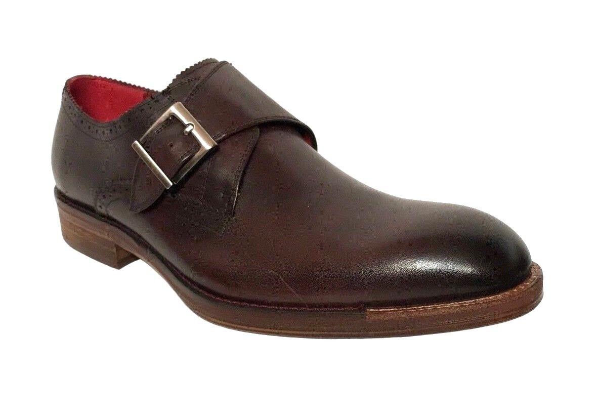 i nuovi stili più caldi Moretti Uomo Monk Strap Strap Strap Burgundy Leather Dress scarpe M31351  qualità garantita