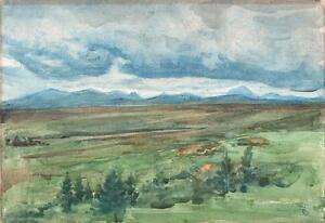 IMPRESSIONIST-MOUNTAIN-LANDSCAPE-Watercolour-Painting-M-E-SWAN-c1940