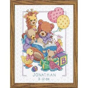 Cross-Stitch-Kit-TEDDY-AND-FRIENDS-BIRTH-RECORD-Baby-Dimensions