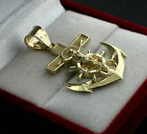 "10K Real Yellow Gold Genuine Diamond Anchor Jesus Crucifix Pendant 1.25/"" Charm"