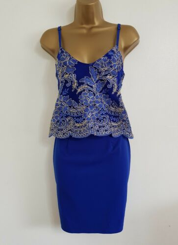NEW Ex Quiz 8-18 Cobalt Blue Gold Floral Embroidered Layered Shift Pencil Dress
