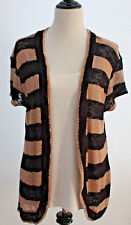 KNIT CARDIGAN BLOUSE Attached 2-in-1 Cami Sweater Set Short Sleeves Shirt Sz XL