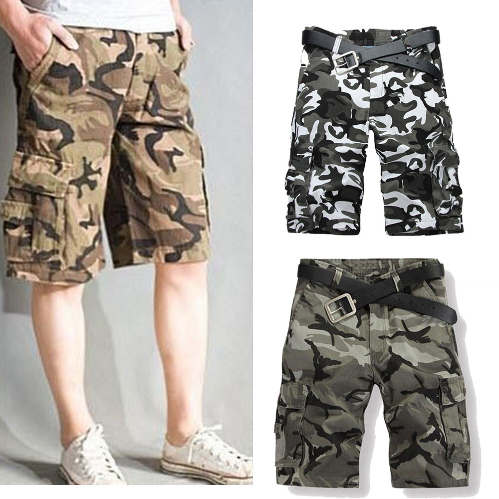 Mens Military Army Camouflage Camo Cargo Shorts loose Short Pants Beach Stylish&