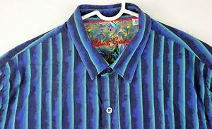 Robert-Graham-Classic-Fit-XL-Aqua-Blue-Flip-Cuff-Striped-Collectors-Casual-Shirt
