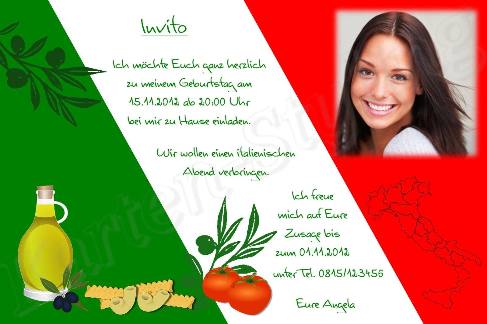 Einladung Geburtstag Party Feier Foto Karte Motto Mottofeier Italien gt_it