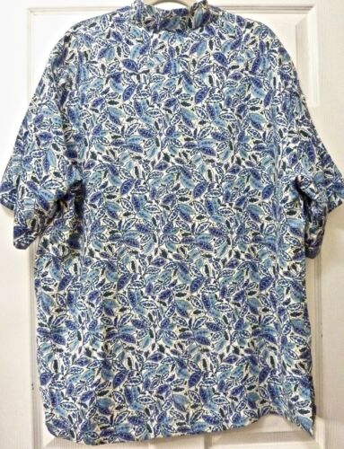 NWT $65 TURNBURY MEN/'S SHIRT LARGE Disco Blue w Green//White Floral SILK /& LINEN