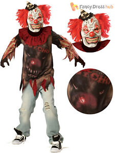 Boys Zombie Clown Costume IT Circus Halloween Fancy Dress Kids Horror Outfit