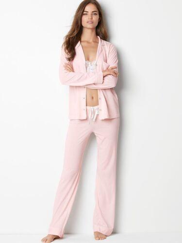 Victoria/'s Secret Peach Sleepover Long Top Trousers Knit Pyjama Pajama ladpj208