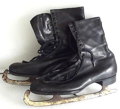 Embekay vintage ice skates UK size 9 Leather skating boots Mobbs Bros c 1930s