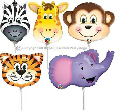 5 JUNGLE ZOO CIRCUS ANIMALS BALLOONS MINI SHAPE DECORATIONS CENTERPIECES