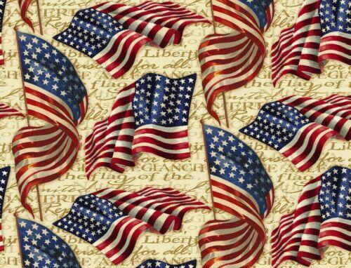 FAT QUARTER  PATRIOTIC FABRIC  AMERICA  PLEDGE ALLEGIANCE  FLAGS  OLD GLORY  FQ