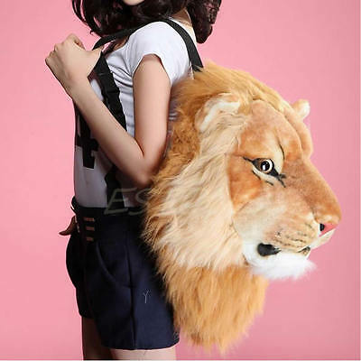 Unisex Boy Girl Fashion Cool Huge Animal Style Backpack Lion Head Bags Knapsack