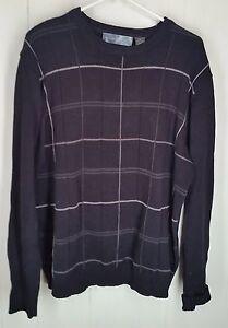 Oscar De La Renta Black Checked Cotton Mens Sweater Size Xxl Ebay