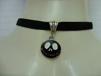 A The Nightmare Before Christmas Jack Charm with Black Velvet Choker Necklace