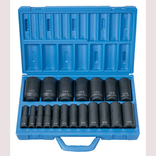 Grey Pneumatic 1319D 1 2  Drive 19 Pc. Deep Length Fractional Master Set