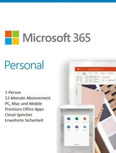 Microsoft Office 365 Personal (1 User / 1 Jahr) Android,IOS,PC/Mac Download