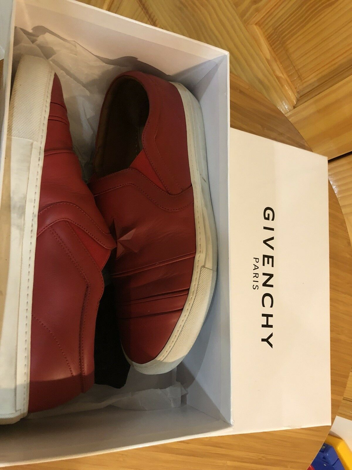givenchy red leather slip on sneaker size 10 43