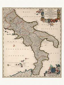 Old-Antique-Decorative-Map-of-Naples-Bari-Lecce-Cosenza-Italy-de-Wit-ca-1682