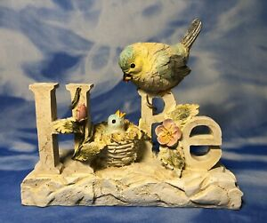 """HTF tii Collections """"Resin HOPE Birds Figurine"""" Mother & Baby Chick P0476 EUC"""