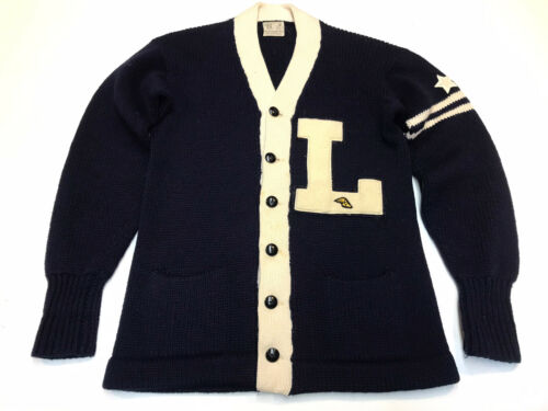 Vintage 1950s Two Tone Varsity Cardigan Sweater  W