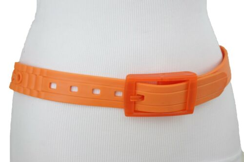 Women Orange Rubber Long Plastic Buckle Fashion Belt Hip Waist One Size XS S M L