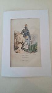 Gravure Xixème Femme De Soudan - Antique French Engraving Belle En Couleur