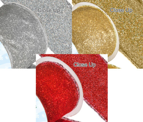 Wired edge satin Christmas Ribbon glittery sparkly 63mm x 1 Metre cut from roll