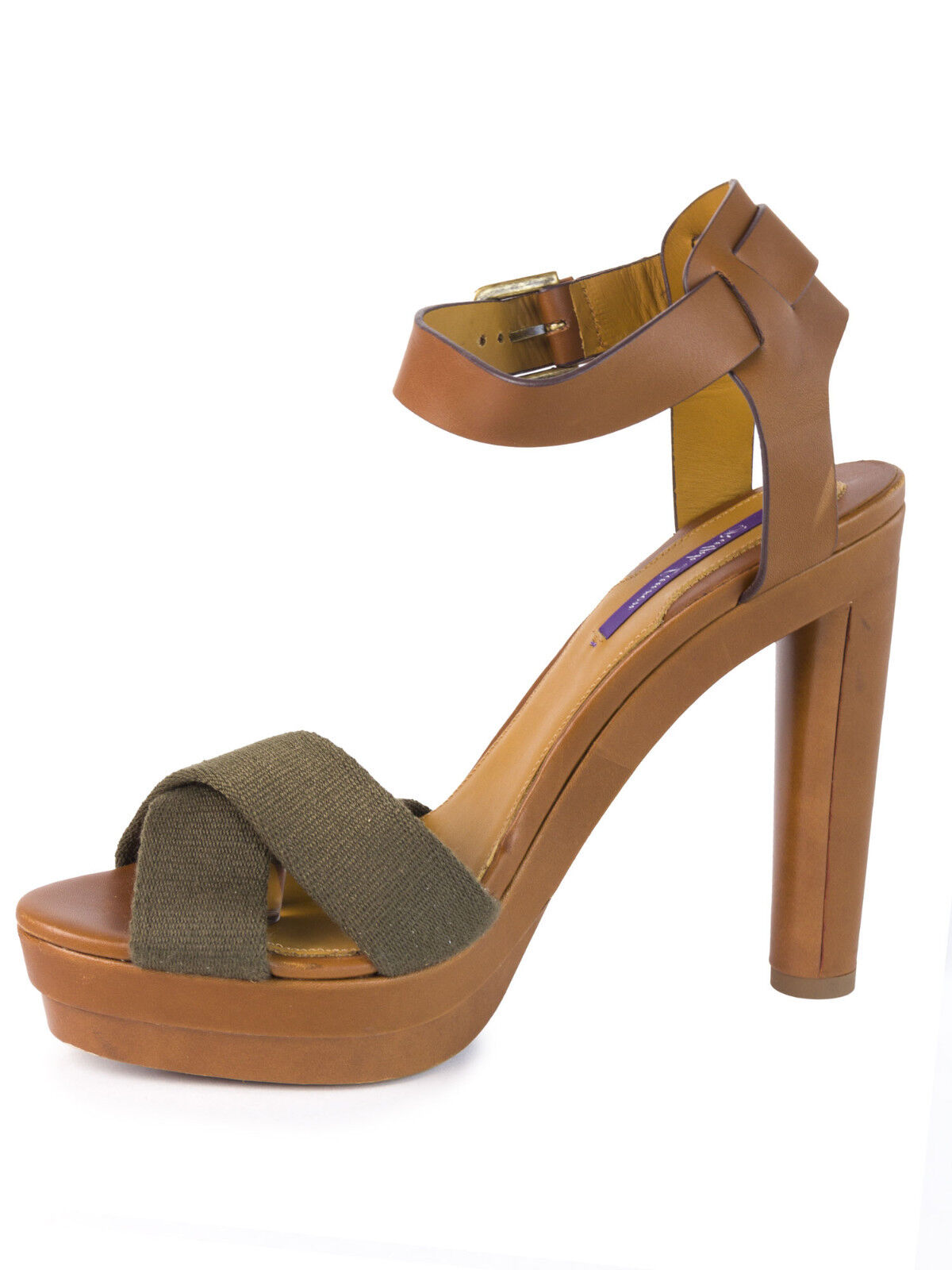 RALPH LAUREN Purple Label Women's Olive & Cognac Platform Sandals Sz 11.5  595