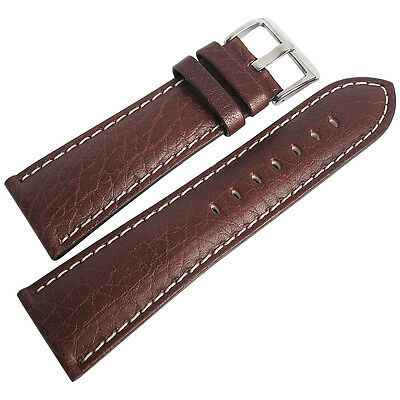 20mm Hadley-Roma MS906 Mens Brown Leather Contrast Stitched Watch Band Strap