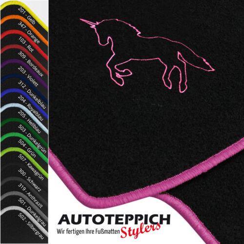 Fußmatten STICK EINHORN vers Farben für Seat Leon 2 1P Bj 2005-2012