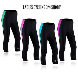Women-Cycling-Tights-3-4-Shorts-Padded-Ladies-Leggings-Cool-Max-Anti-Bac-Pad