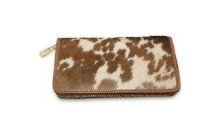 Women-Leather-Clutch-Ladies-Cowhide-Hair-on-Wallet-Brown-and-White-Wallet