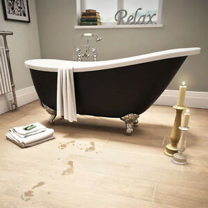 Freestanding-Slipper-Bath-Dual-Skin-Acrylic-Black-Roll-Top-Traditional-Tub