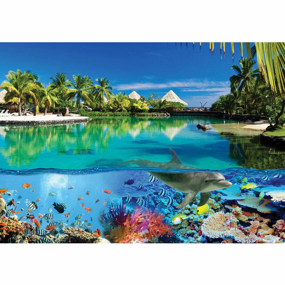 Fototapete Delfin Fische Korallen Tiere Meer Palme Strand Hütten no. 2044