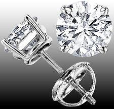 1.90 CT F-G VS1 GENUINE ROUND DIAMOND STUD EARRINGS 14K WHITE GOLD 100% NATURAL