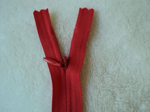 rouge fermeture éclair invisible 24 cm W24NS-I-ROU non séparable