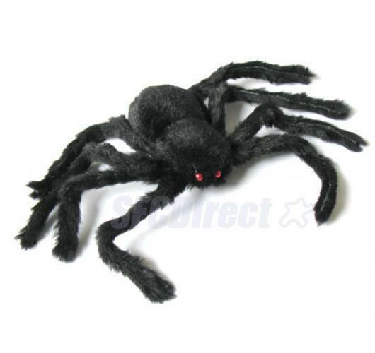 30cm Black Spider Red Eyes Plush Toy Halloween Party Decor Trick Horror Prop