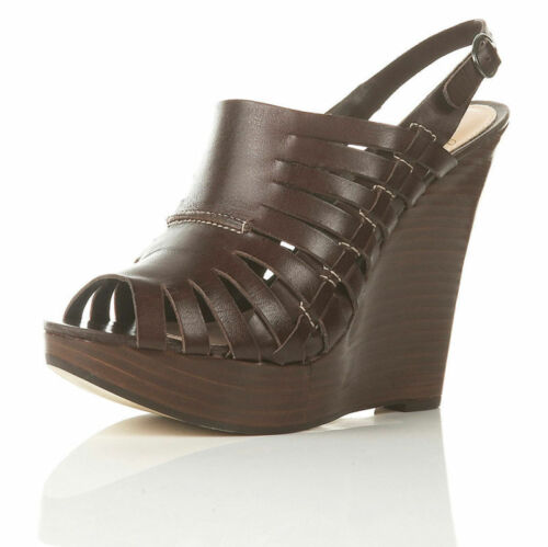 TOPSHOP WINK BROWN LEATHER CUTOUT PEEP TOE SLING BACK PLATFORM WEDGES 4 37
