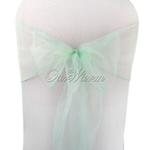 100pcs Organza Chair Sashes Mint Green Chair Covers For Weddiing Party Decor