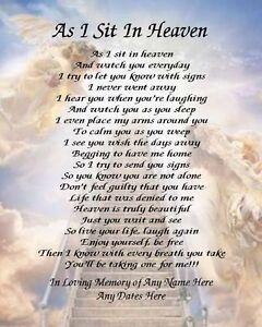As I Sit In Heaven Prayer Personalized Art Poem Memory Gift Ebay