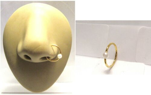 White Faux Pearl Gold Plated Nose Hoop Ring Seamless 18 gauge 18g 10 mm