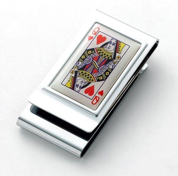 Queen of Hearts Money Clip Poker Fan Front Pocket Wallet Chrome Double Sided