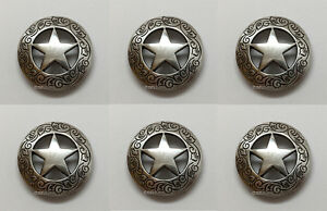 "CONCHOS LOT OF 6 ANTIQUE SILVER /& GOLD ROPE EDGE HORSE HEAD LEATHER CRAFT 1/"" NEW"