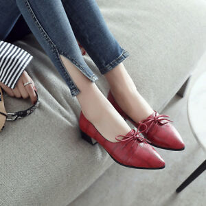 Women-Girl-Oxford-Brogues-Lace-Up-Flat-Heels-Big-Size-Pointed-Toe-Casual-Shoes