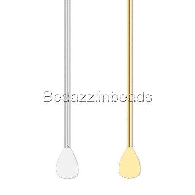 100 Silver 2 Inch 22 Gauge Teardrop Paddle Bead Straight Head Pins Headpins