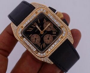 cartier santos 100 xl chronograph 18k rose gold iced out with 700